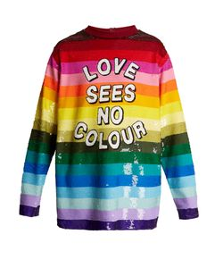 Ashish | Love Sees No Colour Sequin-Embellished Silk Top
