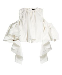 Ellery | Ruffled Stretch-Cotton Cropped Top