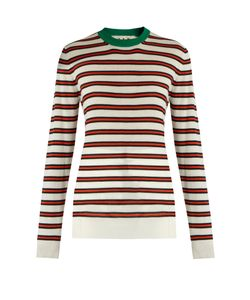 Marni | Striped Contrast-Collar Cashmere-Blend Sweater