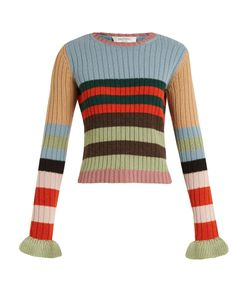 Valentino | Striped Fluted-Cuff Ribbed-Knit Wool Sweater