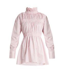 Teija | Ruffled-Collar Striped Cotton-Twill Shirt