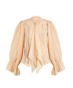Chloe | Tie-Neck Gathered Silk Crepe De Chine Blouse