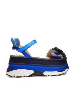 No. 21 | Bow-Front Satin Platform-Wedge Sandals