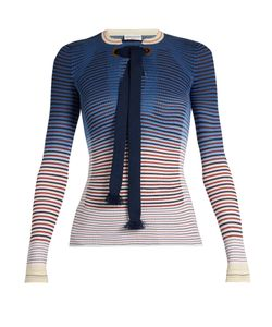 Sonia Rykiel | Tie-Neck Striped Ribbed-Knit Sweater