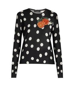 Dolce & Gabbana | -Appliqué Polka-Dot Silk Top