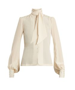 TALITHA | Tie-Neck Silk-Crepe Blouse