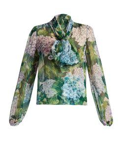Dolce & Gabbana | Ortensia-Print Tie-Neck Silk-Chiffon Blouse