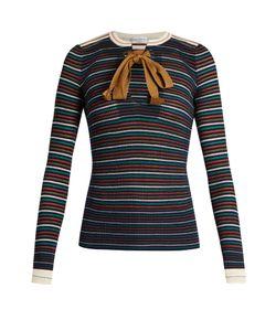 Sonia Rykiel | Tie-Neck Striped-Knit Cotton Top