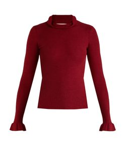 Red Valentino | Ruffle-Trimmed Cashmere And Silk-Blend Sweater