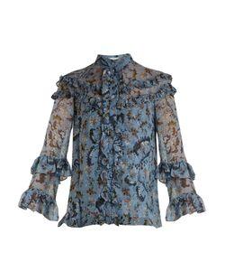 Erdem | Margery Paisley Vine-Print Ruffled Silk Blouse