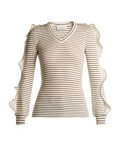 Sonia Rykiel | Ruffle-Trimmed Striped Cotton-Blend Sweater