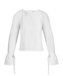 Frame | Cuff-Tie Cotton-Poplin Top