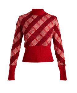 Miu Miu | High-Neck Checked Mohair-Blend Sweater