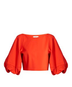 Tibi | Balloon-Sleeved Stretch-Poplin Cropped Top