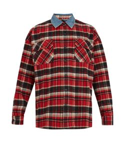 FEAR OF GOD | Contrast-Collar Checked Cotton-Flannel Shirt
