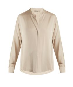 Vince | High-Neck Silk-Blend Satin Shirt