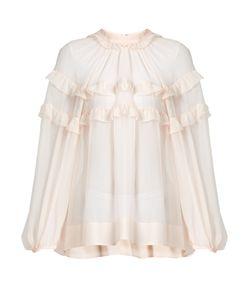 No. 21   Ruffled Sheer Silk Blouse
