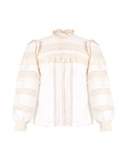 Rebecca Taylor | High-Neck Lace-Trimmed Cotton Blouse