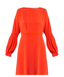 Tibi | Balloon-Sleeved Silk-Crepe Dress