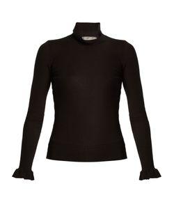 Red Valentino | Ruffled-Cuff Cashmere And Silk-Blend Top