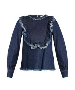 See By Chloe | Ruffle-Trimmed Bib-Front Denim Top