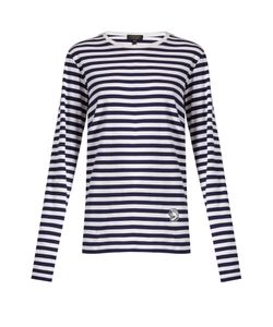 Burberry | Helmet-Appliqué Striped T-Shirt