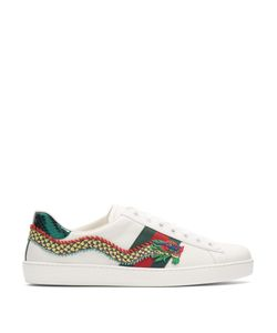 Gucci | New Ace Dragon-Appliqué Leather Trainers