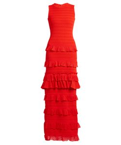 Oscar de la Renta | Ruffle-Trimmed Tiered-Knit Maxi Dress