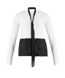 Red Valentino | Tie-Neck Contrasting-Hem Cotton Top