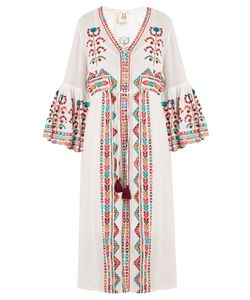 FIGUE | Minette Tribal-Embroidered Cotton Dress