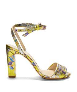 Delpozo   Brocade Block-Heel Sandals