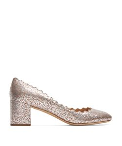 Chloe | Lauren Scallop-Edged Crackled-Leather Pumps