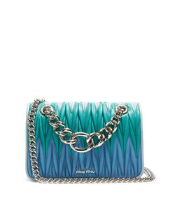 Miu Miu | Contrast-Panel Matelassé-Leather Cross-Body Bag