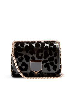 Jimmy Choo | Lockett Petite Leopard-Print Leather Shoulder Bag