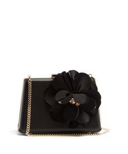 Lanvin   Le Petit Sac Flower-Appliqué Leather Box Clutch