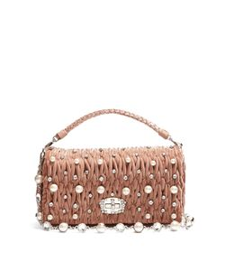 Miu Miu | Faux-Pearl Embellished Velvet Shoulder Bag