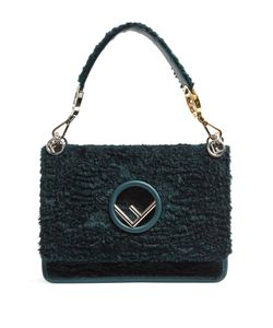 Fendi | Kan I Logo Textured-Velvet Shoulder Bag