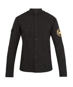 Balmain | Crest-Embroidered Cotton-Poplin Shirt