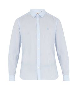 Burberry | Moorside Striped Seersucker Cotton-Blend Shirt