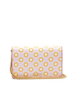 Miu Miu | Circle-Print Canvas And Leather Cross-Body Bag