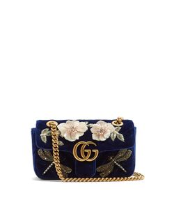 Gucci | Gg Marmont Mini Quilted-Velvet Cross-Body Bag