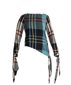 J.W. Anderson | Tie-Cuff Checked Top