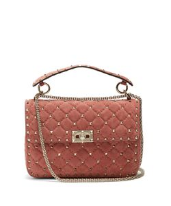 Valentino | Rockstud Medium Quilted-Suede Shoulder Bag