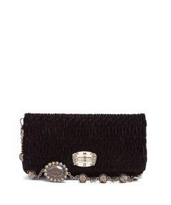 Miu Miu | Crystal-Embellished Quilted-Velvet Shoulder Bag