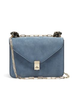 Valentino | Panther-Embellished Small Suede Shoulder Bag