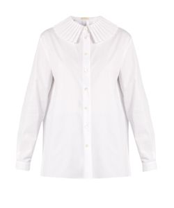 Sara Battaglia   Pleated-Collar Cotton-Blend Poplin Shirt