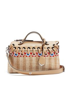 Fendi | By The Way Straw And Leather Bag