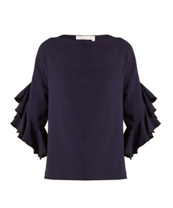 See By Chloe | Boat-Neck Ruffle-Trimmed Crepe Top