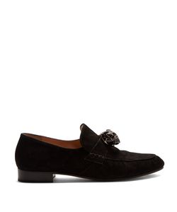 Valentino | Panther-Embellished Suede Loafers