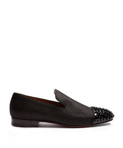 Christian Louboutin | Spooky Glitter-Weave And Patent-Leather Loafers
